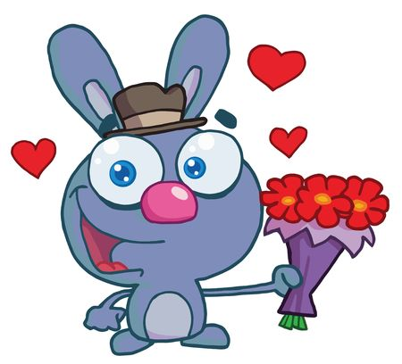 Romantic Blue Bunny Holding Out Flowers Vector