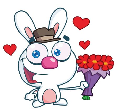 Romantic White Bunny Holding Out Flowers, Vector