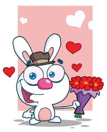 Romantic White Bunny Holding Out Flowers, background Ilustracja
