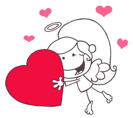matchmaking: Outlined Stick Cupid Girl Carrying A Red Heart