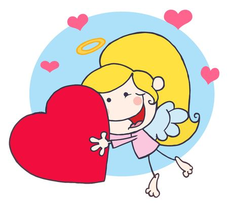 matchmaking: Stick Cupid Girl Flying With A Red Heart
