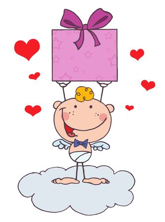 matchmaking: Stick Cupid Standing On A Cloud And Holding Up A Gift
