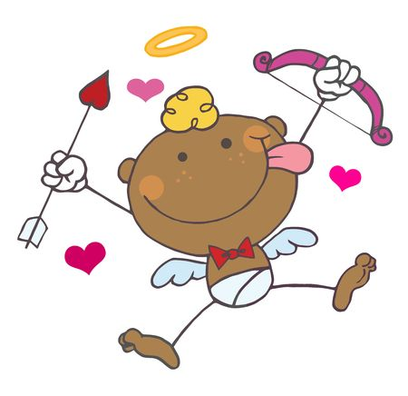 African American Cupid with Bow and Arrow Flying With Hearts Vector