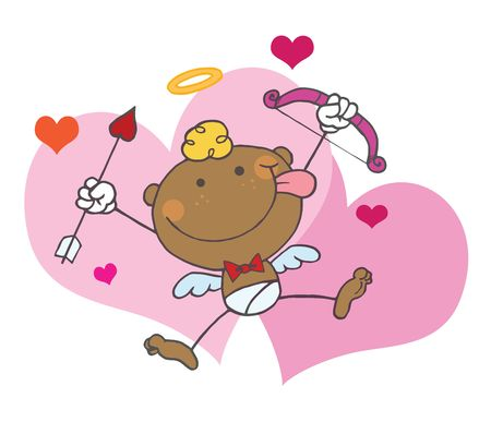 African American Cupid with Bow and Arrow Flying With Hearts,background Vector