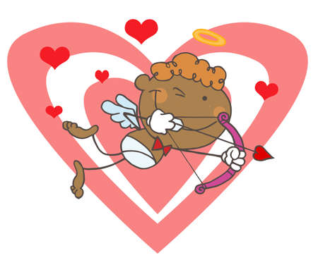 African American Cupid with Bow and Arrow,background Vector