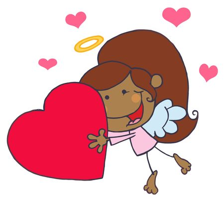 Cartoon Stick African American Cupid Girl Flying With Heart Vector