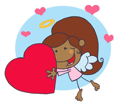 Cartoon Stick African American Cupid Girl Flying With Heart,background Vector