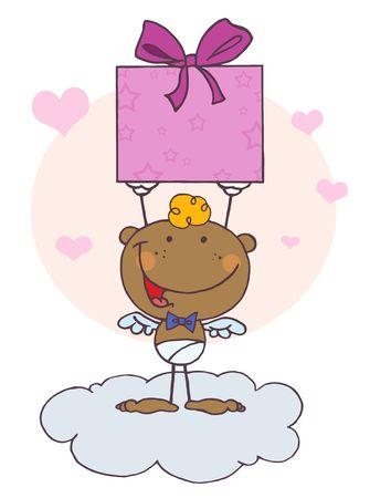 Cartoon Stick African American Cupid with Gift,background Vector