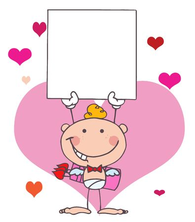 Cartoon Stick Cupid with Banner Vector