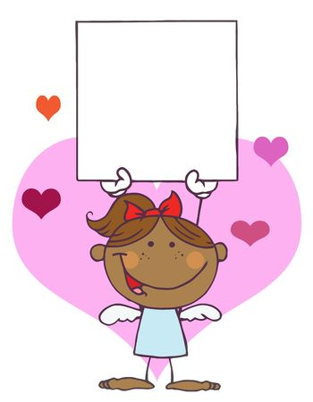 Cartoon Stick African American Cupid Girl with Banner Vector