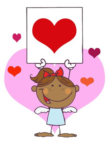 Cartoon Stick African American Cupid Girl with Banner Heart Vector