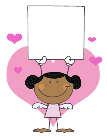matchmaker: Black Female Stick Cupid Holding A Blank Sign Illustration