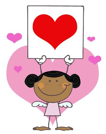 eros: Cute Stick Black Girl Cupid Holding A Red Heart Sign