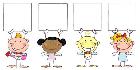 stock clipart icons: Cute Stick Cupids Holding Blank Signs