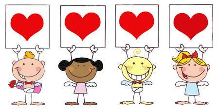 eros: Cute Stick Cupids Holding Red Heart Signs Illustration