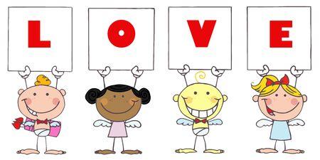 eros: Cute Stick Cupids Holding LOVE Signs