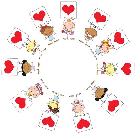 matchmaking: Cute Stick Cupids Holding Red Heart Signs In A Circle