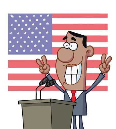 Smiley Politician Gesturing With Peace Signs And Standing At A Podium After Giving A Speech In Front Of An American Flag