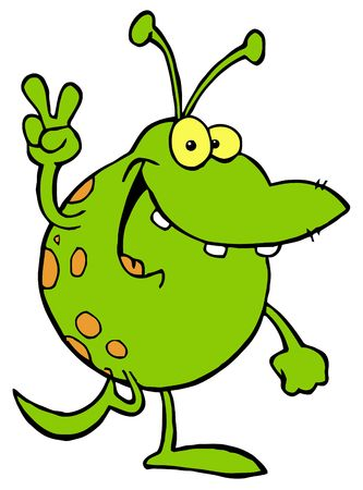 Green Alien Smiling And Gesturing The Peace Sign Vector