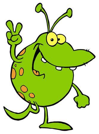 extraterrestres: Smiling Alien verde y ensaya un juego brillantes el signo de la paz