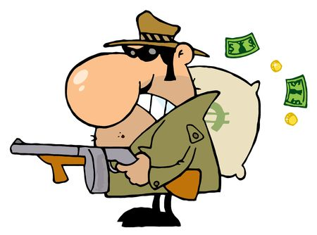 robbery: Gangster Man with his Gun and Bag of Money