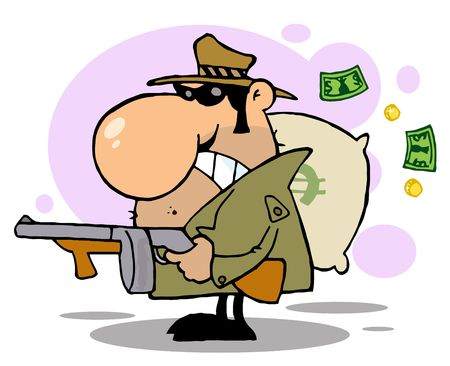 robbery: Gangster Man with his Gun and Bag of Money,background Illustration