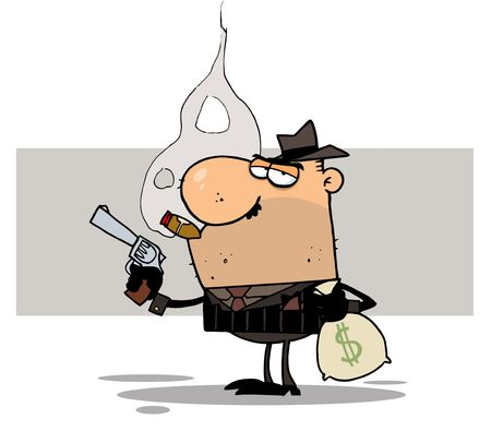 Mobster Holds Gun and Sack of Money,background Vector