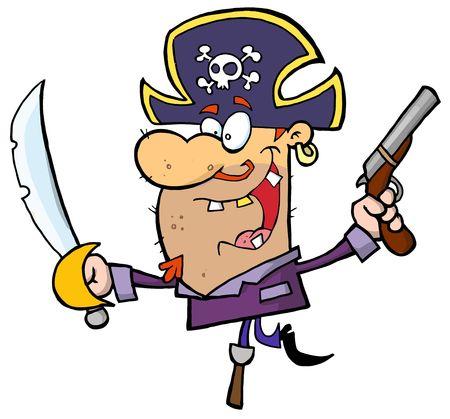 stock clip art icon:  Pirate Brandishing Sword and Gun Balances on Peg Leg Illustration