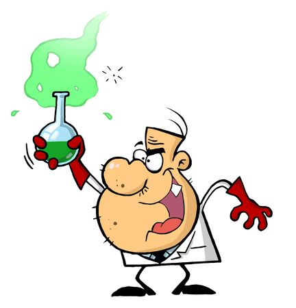 Mad Scientist Hold Bubbling Beaker Of Chemicals Stock Illustratie