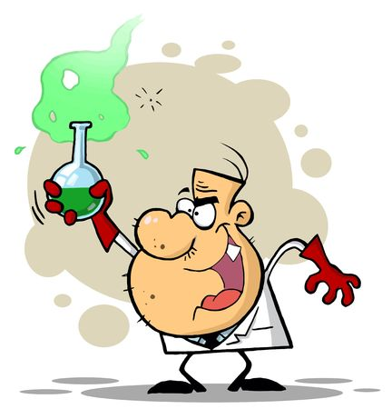 Crazy Scientist Holds Bubbling Beaker Of Chemicals
