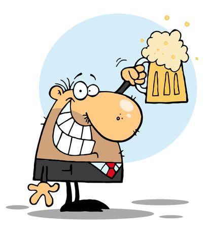 vasos de cerveza: BussinesMan feliz celebrando una Pint de cerveza, fondo