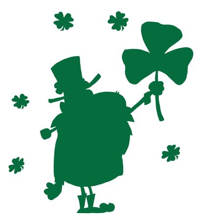 Silhouetted Green Male Leprechaun Holding Up A Clover Vector