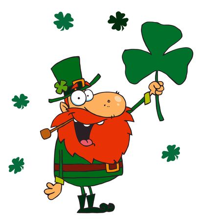 Male Leprechaun Holding Up A Clover Illustration