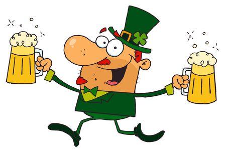 Male Leprechaun Running With Beers Stock Vector - 6906574