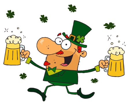 paddys: Happy Leprechaun With Two Pints of Beer