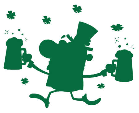 beers: Green Silhouetted Leprechaun Running With Beers Illustration