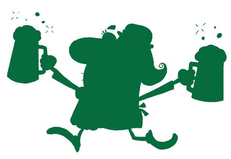 beers: Green Silhouetted Woman Leprechaun Running With Beers Illustration