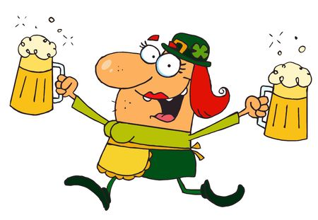paddys: Female Leprechaun Running With Beers