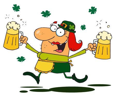 Female Leprechaun Running Through Clovers With Beers Vector