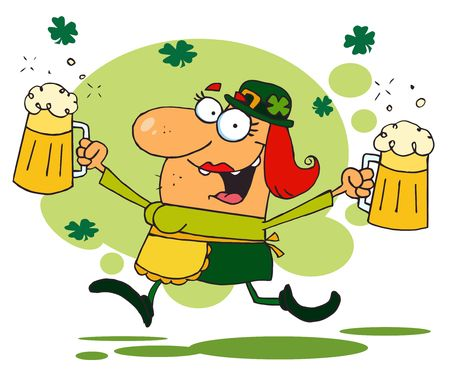 Lucky Woman Leprechaun Running Through Shamrocks With Beers