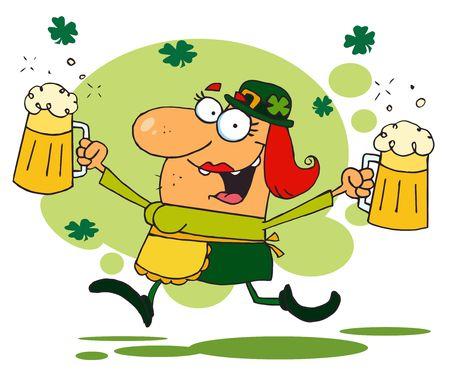 beers:   Lucky Woman Leprechaun Running Through Shamrocks With Beers