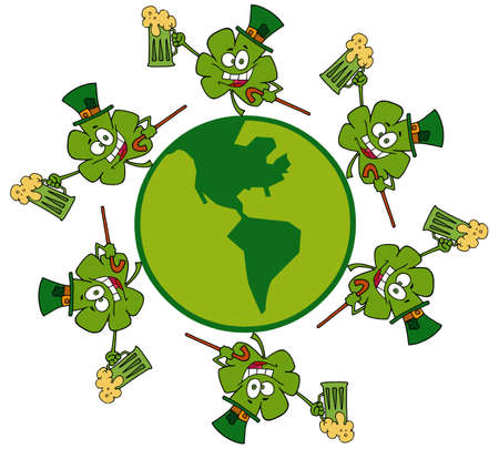 saint paddy's: Circle Of Shamrocks Running Around A Globe With Beer