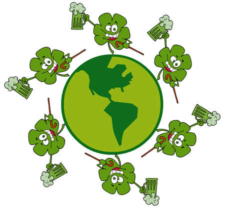 Circle Of Shamrocks Running Around A Globe With Green Beer Stock Vector - 6907037