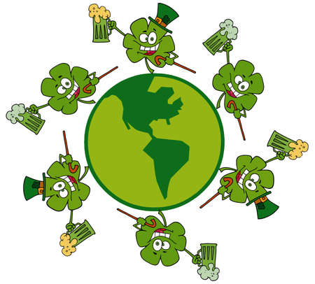 Circle Of Shamrocks Running Around A Globe With Green And Yellow Beer Stock Vector - 6907061