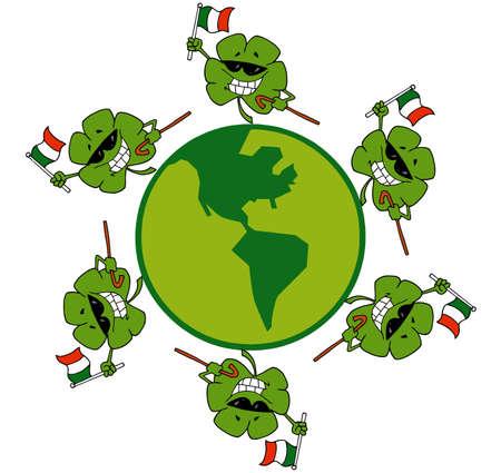 Circle Of Shamrocks Running Around A Globe With Irish Flags Vector