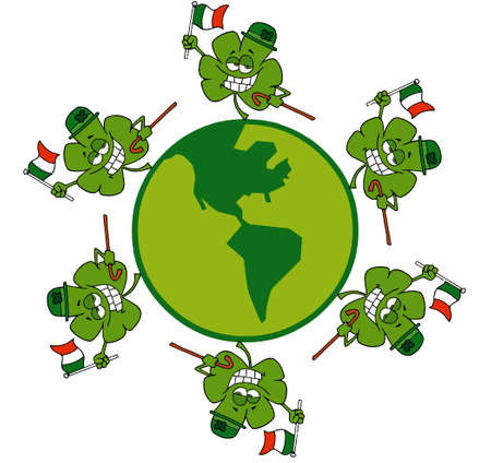 stock image: Circle Of Shamrocks Running Around A Globe With Irish Flags