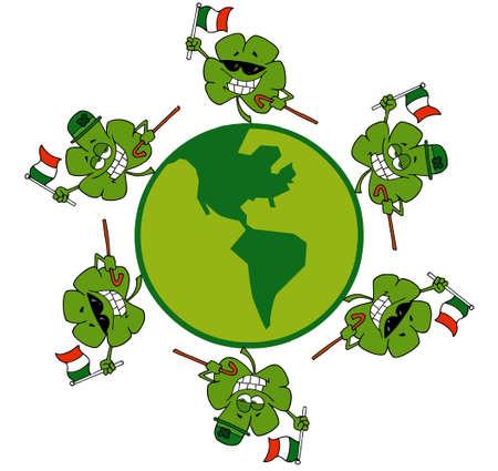 Circle Of Shamrocks Running Around A Globe Stock Vector - 6906817
