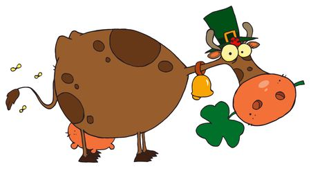 saint paddy's: St Patricks Day Cow Wearing A Hat And Chewing On A Clover