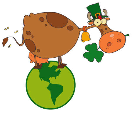 paddys: St. Patrick Day Cow with Shamrocks in Mouth and Hat in Globe Illustration