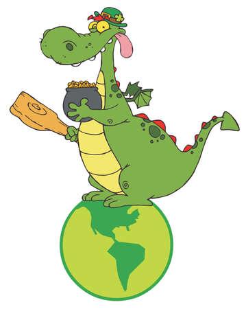 Dragon Leprechaun On A Globe, Holding A Pot Of Gold Vector